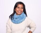 SALE - Blue Handknit Infinity Scarf - Women's Classic Warm Winter Infinity Scarf - Cozy Wool Scarf - Machine Washable Scarf