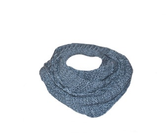 Grey mens scarf, infinity scarf cowl, knitted scarf, mens accessory, gift for men, circle scarf