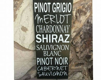 Personalized Wine Sign for a Wine Lover, Cabernet, Merlot, Chardonnay Wine Cellar Wine Cave Sign, Kitchen Decor