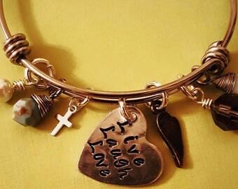 Adjustable Hand Stamped Bangle Charm Bracelet