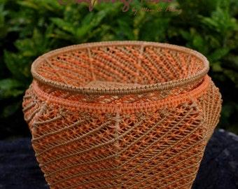 Basket set,Medium size, Macrame,Pumkin, Jar,Dish,Handmade,Colors Pumkin Orange and Birch,Rope, Storage