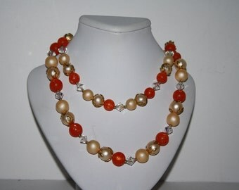 Beautiful Hand Made Gold Tone 2 Strand Beaded Necklace Orange and Pearl tones 20 in -US free shipping