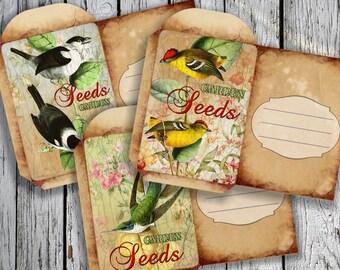 VINTAGE 6 - Printable 3 Mini Seed Packets Download Digital Collage Sheet DIY - Print and Cut
