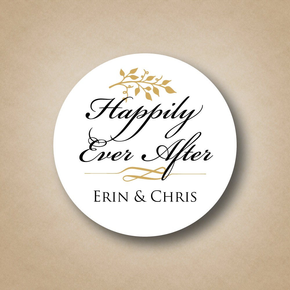 Happily Ever After Wedding Stickers Wedding Favor Tags Custom