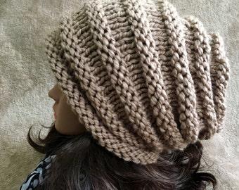 Women Hat Hand Made Knit  Slouchy Hat Wool Blend Alpaca Yarn Beanie Winter Hat