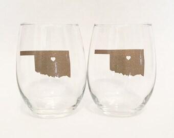 Set of 2 - Glitter - Custom State Outline Heart Stemless Wine Glass Gold Sparkly Shimmer - Oaklahoma