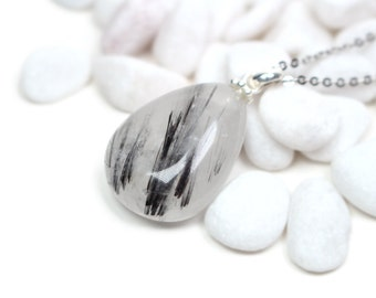 Black Tourmalinated Quartz Necklace -Healing Gem Necklace, Black Rutile Necklace, Gemstone Necklace, Holiday Gift for Her