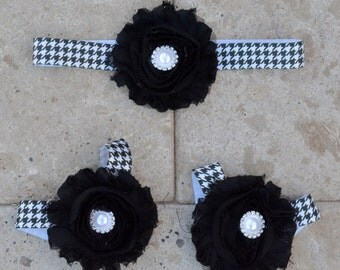 Black Baby Sandals, White Baby Sandals, Black White Baby Shoes, Houndstooth Baby, Black Baby Shoes, Houndstooth Baby Outfit