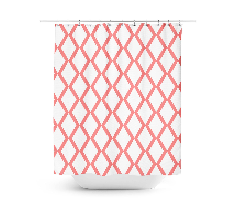 Shower Curtain Geometric Bath Curtain Coral White