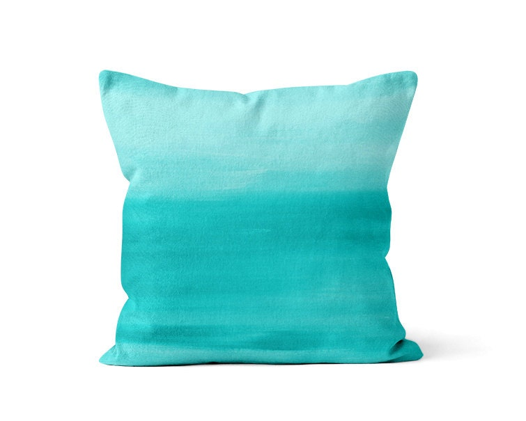 Abstract Teal Pillow Cover Ombre Modern Home By HLBhomedesigns