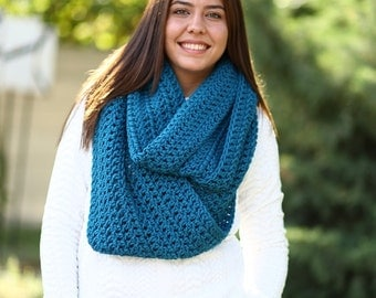 Oversized Infinity Scarf Hooded Scarf, Extra Large Scarf, Mens Hooded Scarves Thick Knit Scarf - Teal / ATHENA