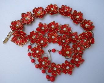 Vintage 40s Parure Red Celluloid Flower and Rhinestone Necklace, Bracelet, Earrings/Celluloid Flower jewelry
