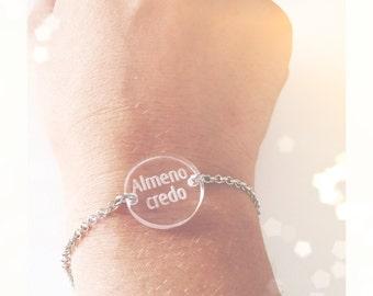 Bracelet with phrase engraved on plexiglas