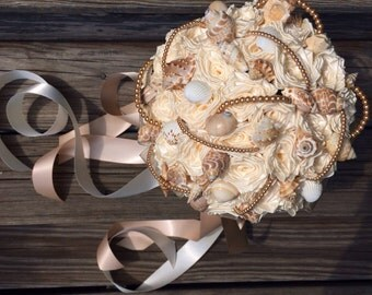 Custom Bespoke Sea Shell and Blush Pearl Ivory Satin Rose Bouquet with Long ribbon Streamers