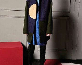 Fine Art Collection oversize irregular geometry color fusion coat