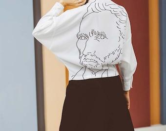 Fine Art Collection black and white Van Gogh self portrait back print designed shirt