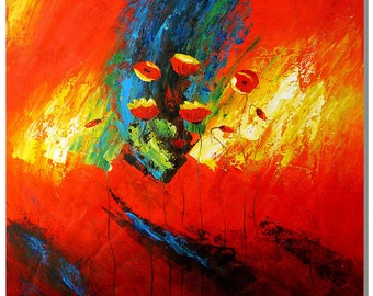 Art of Red Expression - Hand Painted Modern Abstract Flower Oil Painting On Canvas