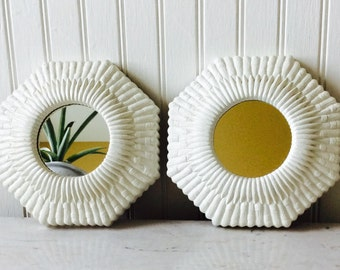 Vintage White Faux Wicker Octagonal Mirrors, Set of 2,  Homco 1960's, Wall Decor,  Shabby Chic, Coastal, Cottage, Tropical, Beach Decor