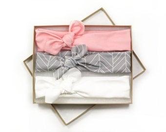 Baby Turban Headband/ Knotted Head Wrap/ Pink Gray White Headband/ Baby Shower Gift/ Modern Headband Set