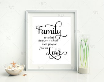 Family is what happens when two people fall in love - PRINTABLE Wall Art / Family is what happens quote print / Family quote / 2 for 1 print