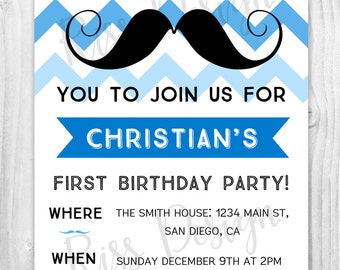 Mustache Birthday Party Invitation PRINTABLE / little man birthday invite / mustache invitation / pick your colors!