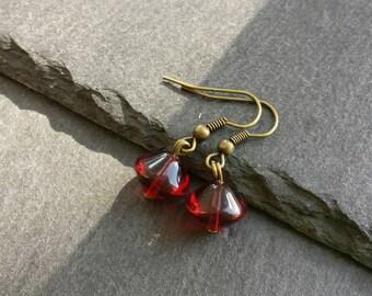 Red Czech Glass Bead Drop Earrings, Deep Red Beaded Earrings, Bronze Dangle Earrings