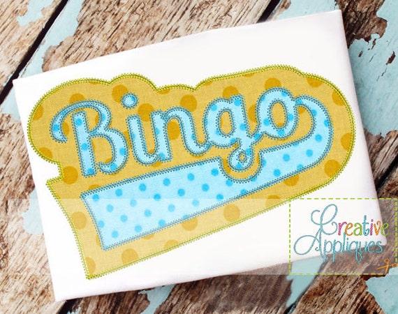 Bingo digital machine embroidery applique design sizes