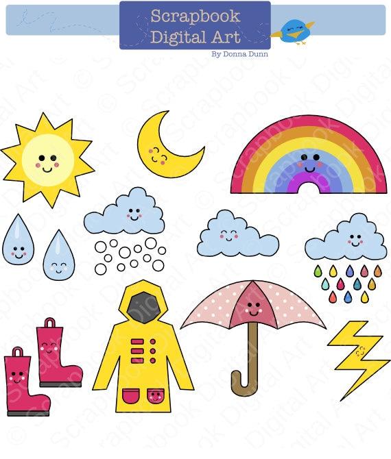 Kawaii Weather Clip Art Rainy Day Clipart Rain and Clouds