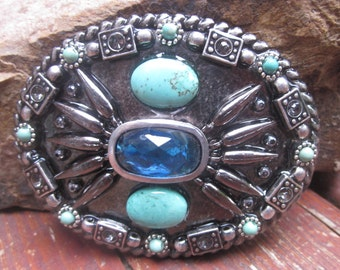 turquoise belt buckle embellished belt buckle Blue glass mens belt buckle  women's belt buckle navajo Belt  Buckle