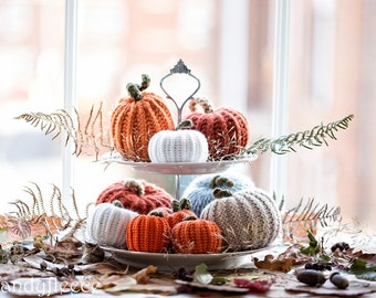 Thanksgiving Table Decor 10 Knitted Pumpkins Rustic Knit Decoration Modern Farmhouse Fixer Upper Decor Fall Autumn Harvest Ornament Gift Set