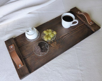 Rustic Wooden tray - Breakfast tray - Rustic decor - Leather handles - Ottoman tray - Coffee table tray -