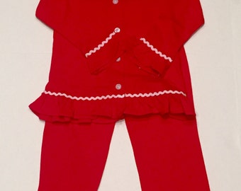 Girls personalized Christmas pajamas, girls red monogrammed Christmas, youth knit lounge set, red lounge set with monogram, Christmas nightg