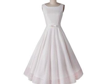 White dress, Solid dress, Audrey Hepburn dress, Spring dress, Wedding dress, Bridal dress, Handmade dress, Flared dress, Lace dress MS70