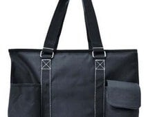 Monogram utility tote/ black utility tote/carry all/ large  diaper bag