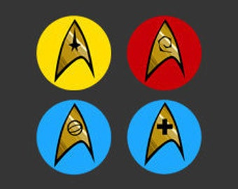 Star Trek 1 inch Pinback Button Badges - set of 4