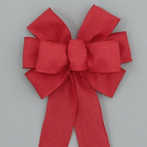 Red Rustic Christmas Wreath Bow