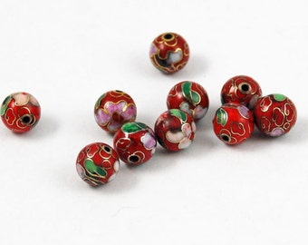 Cloisonne Red Round Beads Chinese Enamel Floral 10mm (6)