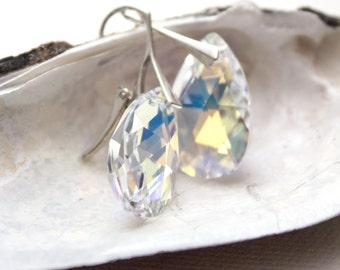 Sterling Silver leverback Swarovski Elements Crystal Aurora Borealis pear shape earrings