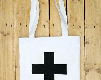 Black Cross - hand made tote bag from Iceland
