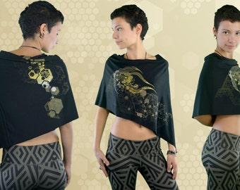 Bamboo Poncho/Skirt - Hive Mind - Black