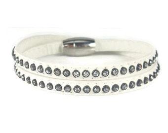 Studded Leather Bracelet, Rhinestone Cuff Bracelet, Leather Wrap Bracelet, Studded Cuff, Womens Leather Jewelry, White Leather Bracelet