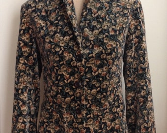 1970 Soft Rich Rayon Velvet Print Blazer/Fall Harvest Colors/70s