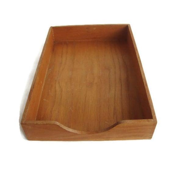 Vintage desk tray oak paper tray letter tray desk for Legal letter tray