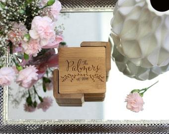 Personalized Coaster Set, Square Wood Coaster Set, Engraved Coasters, Monogram Initial Coaster Set - Set of 6 --22027-CST2-001