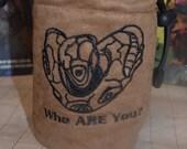 Dice Bag custom Embroidery Light Brown Suede Babylon 5 Vorlon character