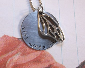 With wings she flies.... hand stamped stainless steel necklace and butterfly charm