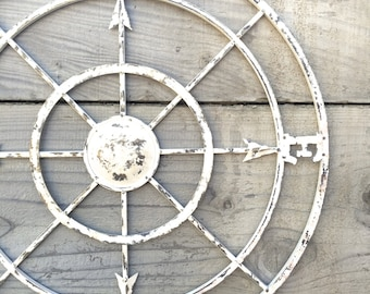 Ordinaire Nautical Compass, White Wall Art, Shabby Chic Nautical Decor, Metal Compass  Wall Art
