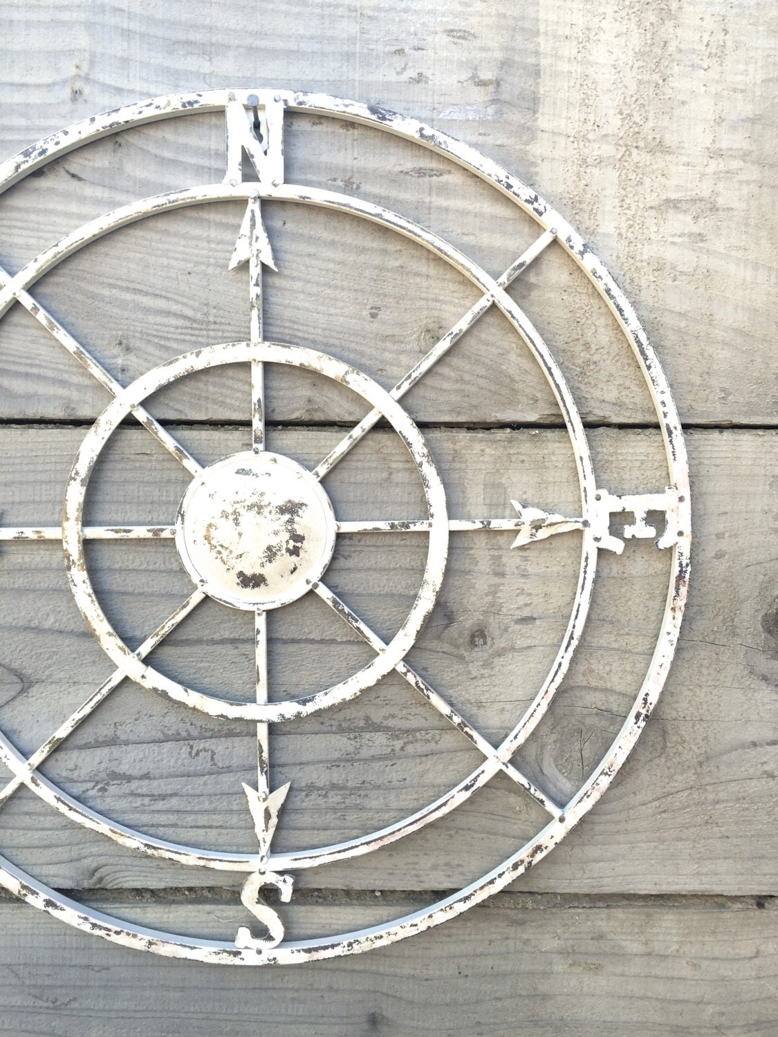 Vintage Compass Wall Decor : Compass white wall art shabby chic nautical decor