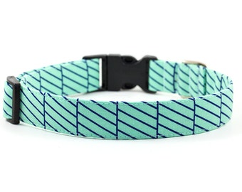 SALE - Reduced Price // Striped Dog Collar // S-XL // Adjustable Length - Fabric: Mint & Blue Diagonal Stripes