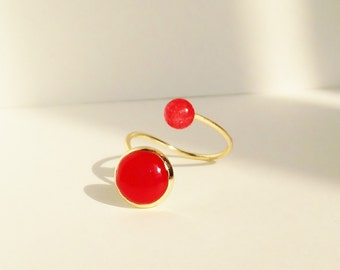 Two Stone Ring, Dual Stone Ring, Double Stone Ring, Resin  Shell Cabochon, Red Ring, Green Ring, White Ring, Adjustable Ring, Resin Jewelry